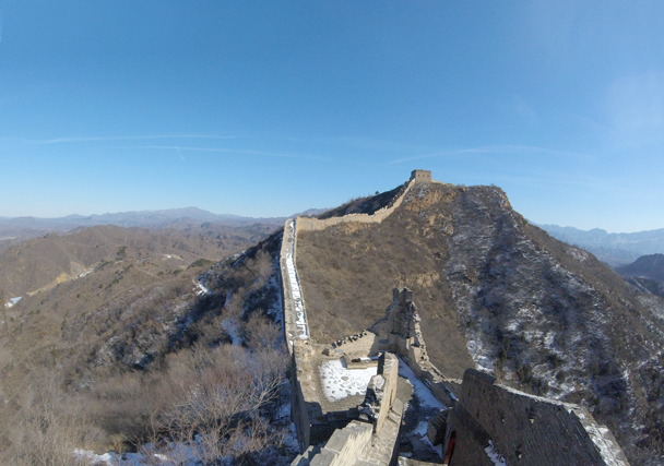 The view of some of the steep stairs we climbed - Jinshanling Great Wall, 2016/02/17
