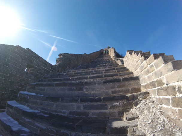 Closer view of the stairs – steep! - Jinshanling Great Wall, 2016/02/17