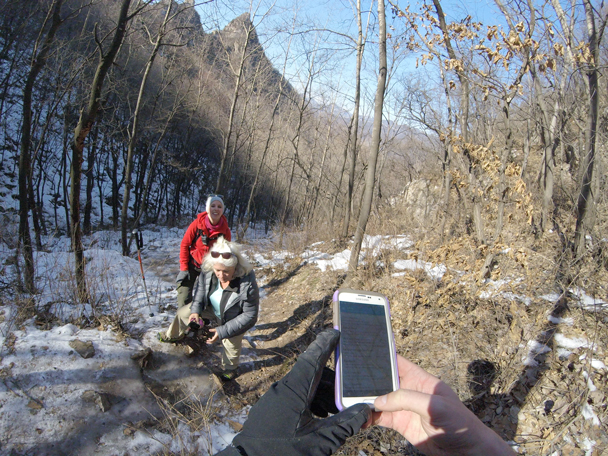 With the Go-Pro on automatic mode we can take photos of ourselves taking photos - Jiankou to Mutianyu Great Wall, 2016/02/24