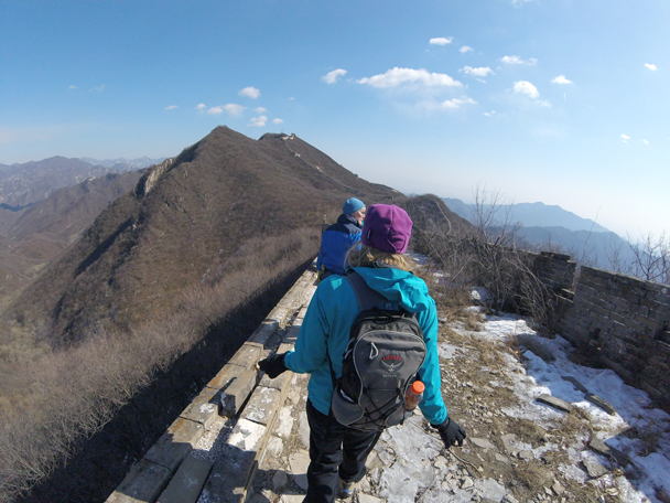 We were headed for the tower on the tall hill in the background. The wall there makes a big curve to follow the ridgeline, a feature known as the Ox-Horn - Jiankou to Mutianyu Great Wall, 2016/02/24