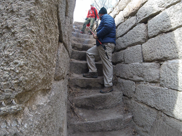 Some ice on the steps made this bit a little tricky - Jiankou to Mutianyu Great Wall, 2016/02/24