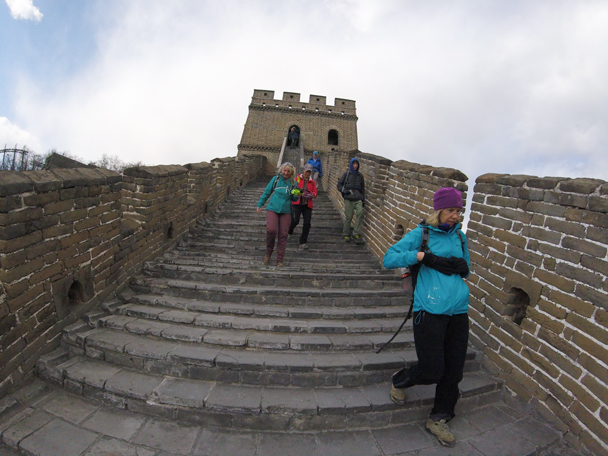 Coming down the steep steps from a tower - Jiankou to Mutianyu Great Wall, 2016/02/24