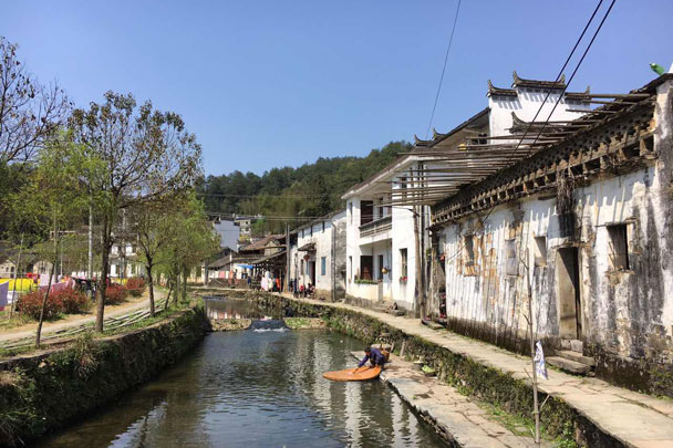 A canal runs through a village in Wuyuan - Wuyuan, Jiangxi Province, 2016/03
