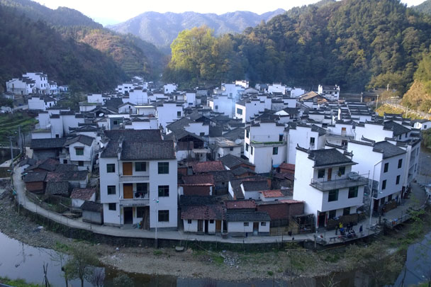 The canal loops around this village in a horseshoe shape - Wuyuan, Jiangxi Province, 2016/03