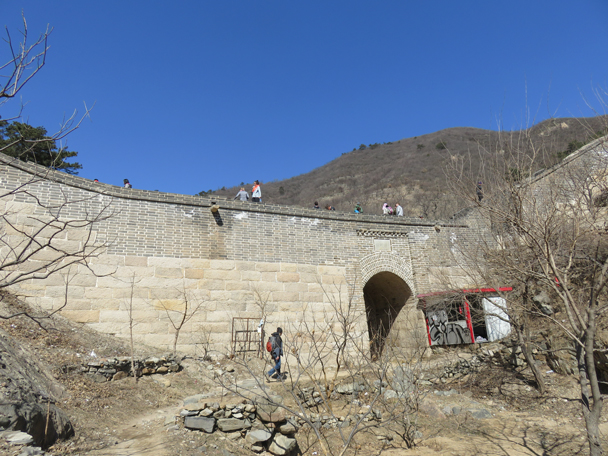 Later on we hiked up to the Great Wall above Zhuangdaokou Village - Big Black Mountain to the Walled Village, 2016/3/13