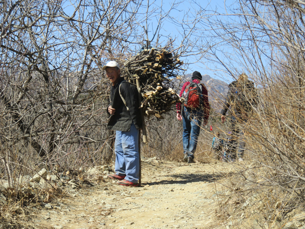 We continued to the Walled Village, passing a farmer who was out collecting firewood - Big Black Mountain to the Walled Village, 2016/3/13