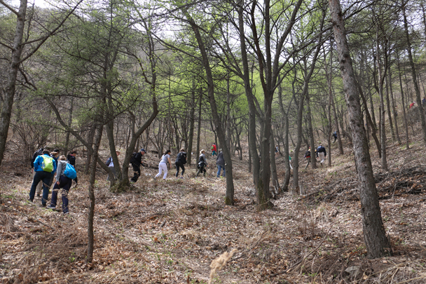 The Great Wall runs along the ridge in the background of the photo - Stone Valley Great Wall Loop, 2016/4/16