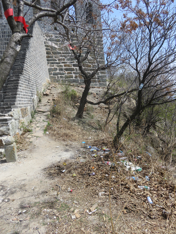 Up at Nine-Eyes Tower we found bottles and wrappers left lying on the ground - Great Wall clean up hike for Earth Day, 2016/4/23
