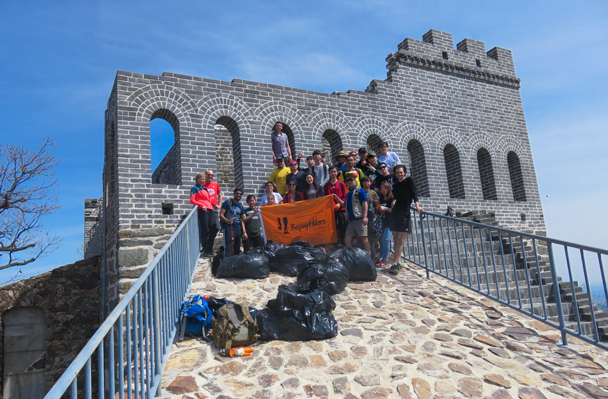 It took us about 1.5 hours to clean the tower and the surrounding area. Here we are, with all the bags full up - Great Wall clean up hike for Earth Day, 2016/4/23
