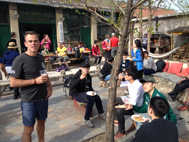 Pizza time at the Gung Ho hut - Great Wall clean up hike for Earth Day, 2016/4/23