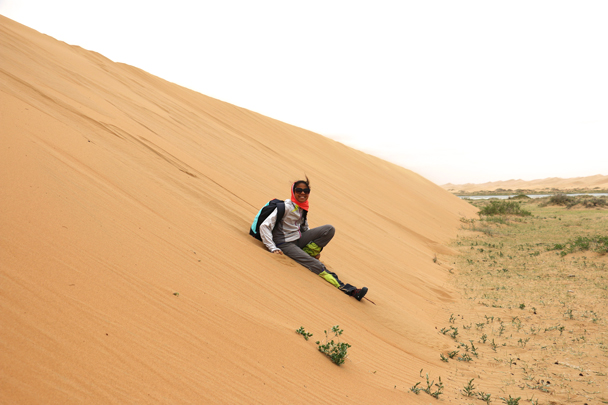 Run up the dune, run back down - fun! - Tengger Desert, May 2016