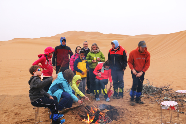 We set up camp a short distance from the settlement and got our campfire going while we waited for dinner - Tengger Desert, May 2016