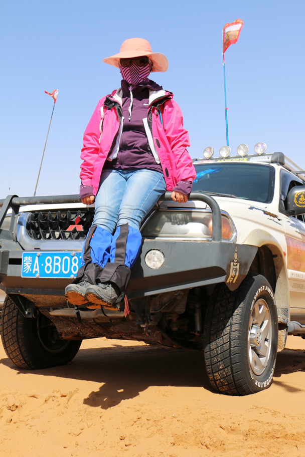 All the gear needed for a desert expedition - hat, sunglasses, facemaske, gaiters … and a big jeep! - Tengger Desert, May 2016