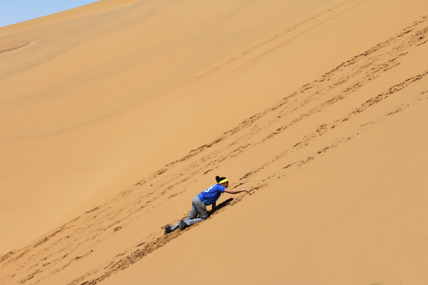 We decided that we definitely needed to climb the biggest sand dune - Tengger Desert, May 2016
