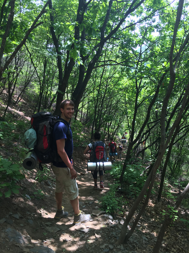 Hiking up through the forest - Camping at the Great Wall Spur, 2016/05