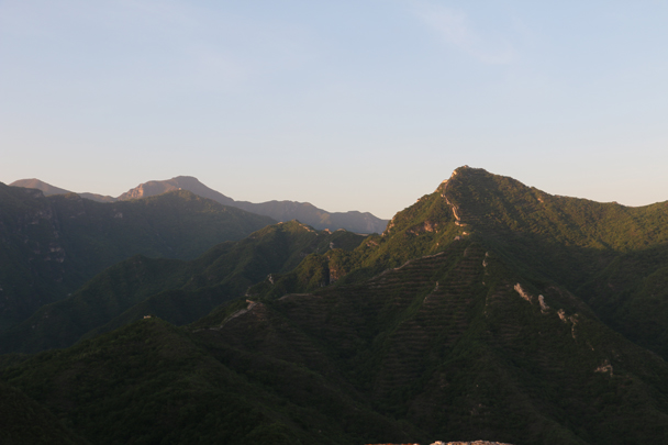 Sunset light on the Chinese Knot, one of the highest towers at Jiankou - Camping at the Great Wall Spur, 2016/05