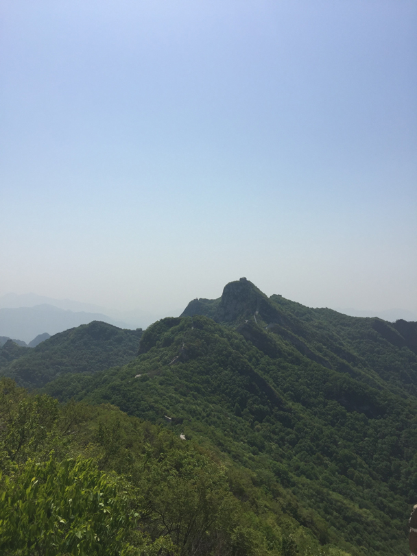 The tall tower in the middle of the photo is our goal - Camping at the Great Wall Spur, 2016/05