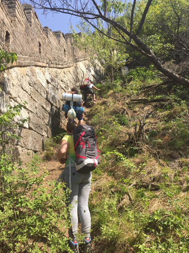 Climbing up to the Chinese Knot on a steep trail beside the wall - Camping at the Great Wall Spur, 2016/05