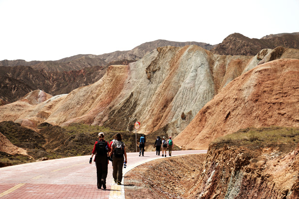 Hiking into the park area at the Zhangye Danxia Landform - Zhangye Danxia Landform and Jiayuguan, May 2016