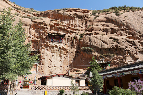 The famous Horsehoof Temple, built into a cliff - Zhangye Danxia Landform and Jiayuguan, May 2016