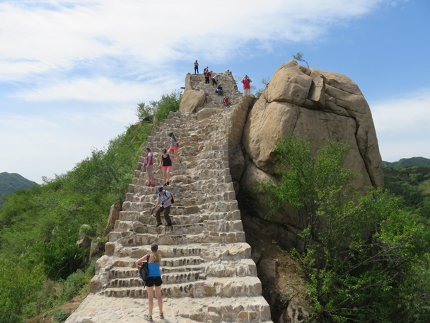 The view from the bottom of the staircase is almost as impressive as from the top. The the blocks used for the foundation of the wall here were cut from the large boulders - Longquanyu Great Wall to the Little West Lake, 2016/05/04