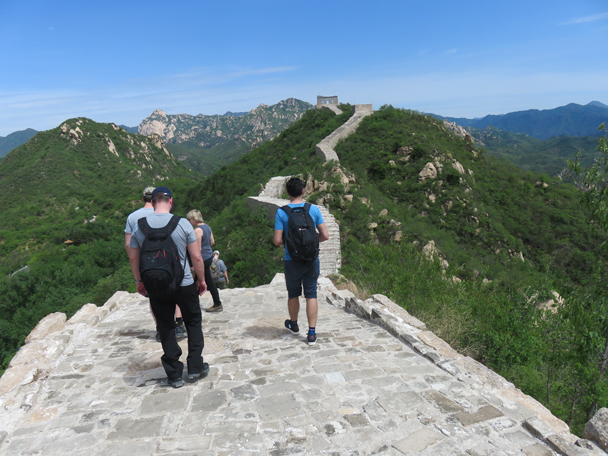 Hikers coming to terms with the amount of stairs in their path - Longquanyu Great Wall to the Little West Lake, 2016/05/04
