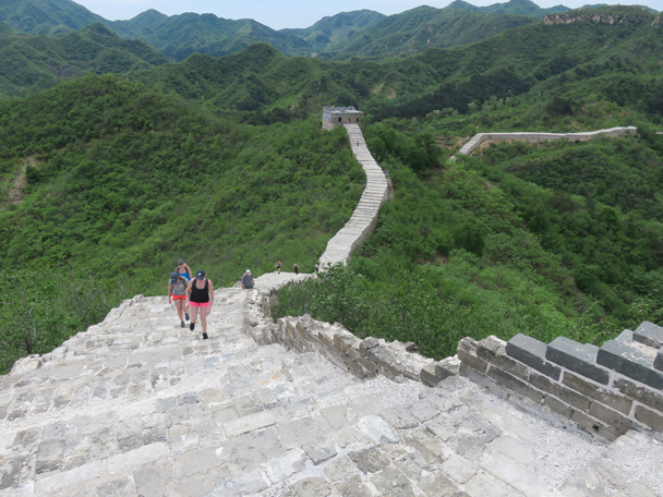 The hikers have almost arrived at the last tower of the renovated section - Longquanyu Great Wall to the Little West Lake, 2016/05/04