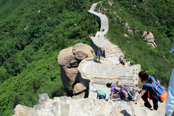 Carefully making the way down a steep section of stairs - Longquanyu Great Wall to Little West Lake, 2016/05/26
