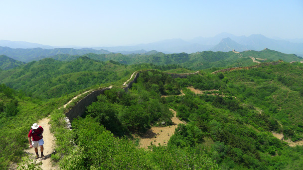 In some places the wall was almost hidden by the leaves of all the trees and plants - Gubeikou Great Wall to Jinshanling Great Wall, 2016/5/28