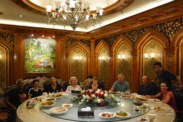 Our first formal dinner after a long flight from Beijing to Korla. Nice decoration and every dish seems double size - Along the Silk Road from Korla to Kashgar, June 2016