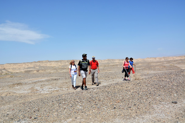 Hiking off to explore some unique landscapes on the way to Kuqa - Along the Silk Road from Korla to Kashgar, June 2016