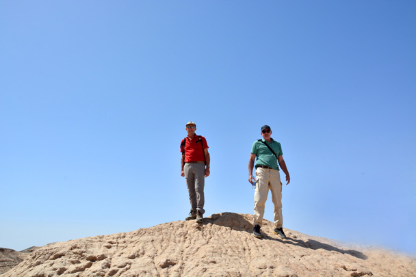 Two gentlemen have claimed the high ground - Along the Silk Road from Korla to Kashgar, June 2016