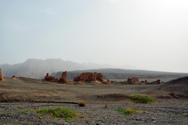 Full view of Subashi's ruined city, including the other half in the distance across the river - Along the Silk Road from Korla to Kashgar, June 2016