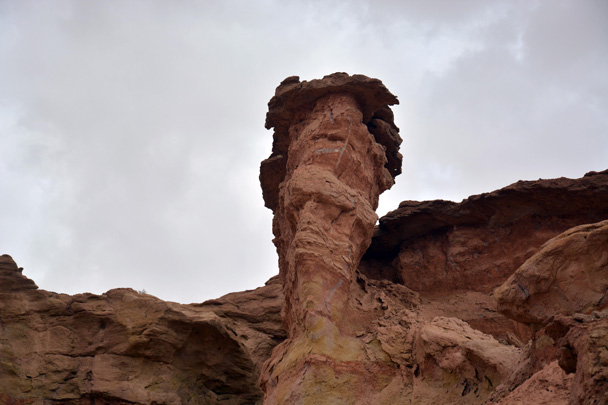 Another mushroom-shaped pinnacle. We thought we could see the face of a sad old man in it - Along the Silk Road from Korla to Kashgar, June 2016