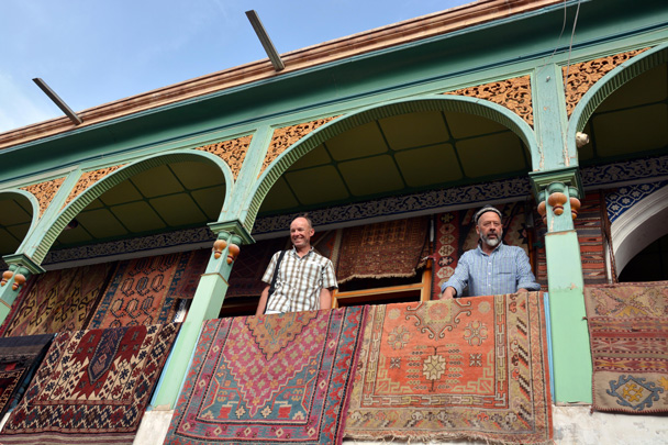Carpet shop located in the old city in Kashgar. The building is was used during the filming of the movie Kite Runner - Along the Silk Road from Korla to Kashgar, June 2016