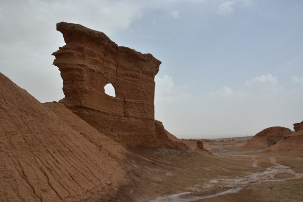 Another shot of the cliff with a window - Along the Silk Road from Korla to Kashgar, June 2016