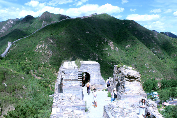 The first tower on the our hike over to the Walled Village. We'd watch the sun set from the wall in the background - Sunset over the Huanghuacheng Great Wall, 2016/06/11