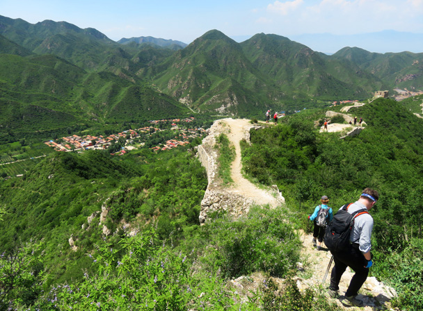 We continued further along the wall, and then hiked down to finish in the village on the left of the photo - Middle Route of Switchback Great Wall, 2016/07/02