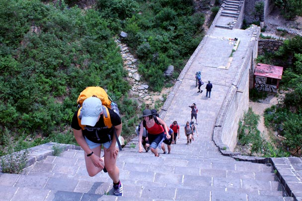 First steep climb of the day - up the repaired stairs - Walled Village to the Little West Lake Great Wall, 2016/07/07