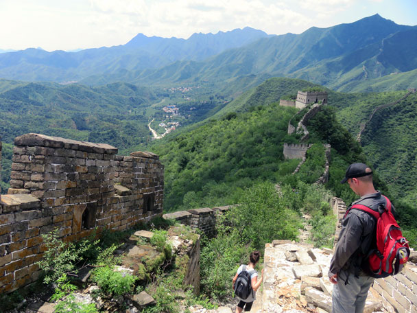 The tower in the background is the last one we'd visit - Great Wall Spur hike, 2016/07/13