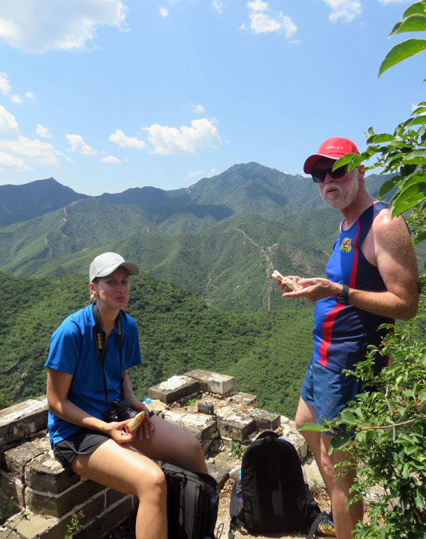 Snack break on the last tower - Great Wall Spur hike, 2016/07/13