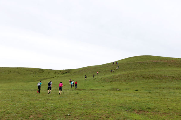 We hiked up into the hills to find a quiet spot for meditation - Yoga and Meditation at the Bashang Grasslands, August 2016