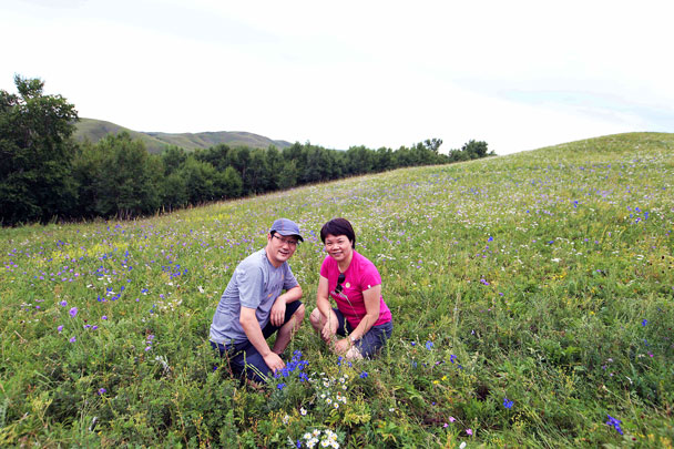 Wildflowers in bloom - Yoga and Meditation at the Bashang Grasslands, August 2016