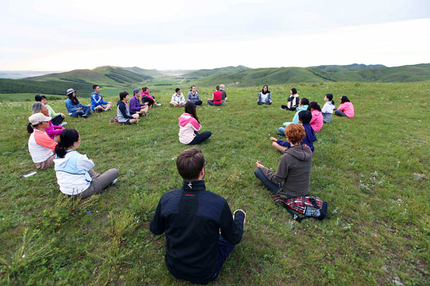 We hiked nearly two hours to find this peaceful location for a guided meditation session - Yoga and Meditation at the Bashang Grasslands, August 2016