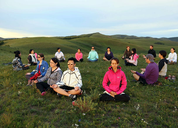 Well settled in - Yoga and Meditation at the Bashang Grasslands, August 2016