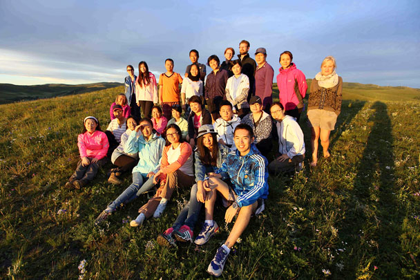 Group photo at sunset - Yoga and Meditation at the Bashang Grasslands, August 2016
