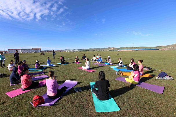 Early session of yoga - Yoga and Meditation at the Bashang Grasslands, August 2016