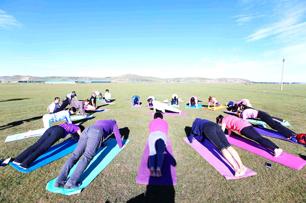 Planks - Yoga and Meditation at the Bashang Grasslands, August 2016