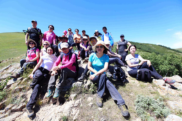 Team photo on an 1,800m high point - Yoga and Meditation at the Bashang Grasslands, August 2016