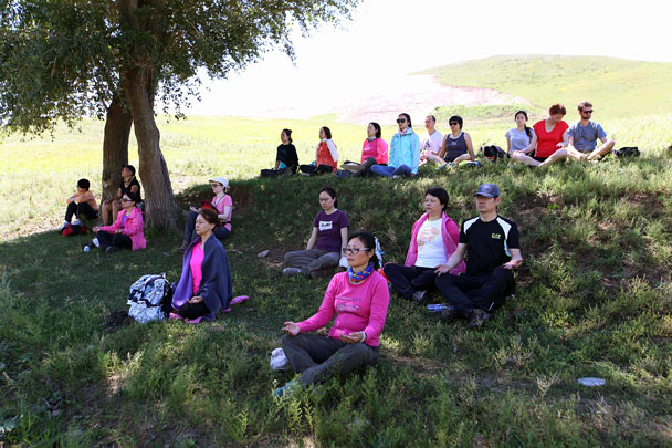 Looks super comfortable - Yoga and Meditation at the Bashang Grasslands, August 2016